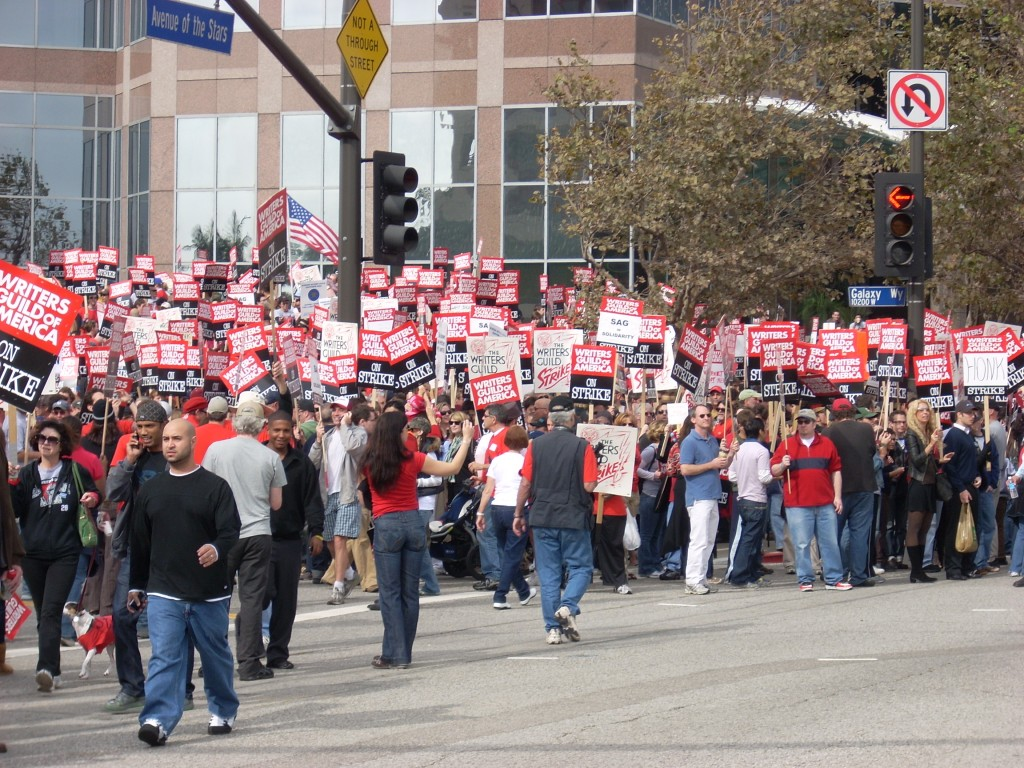 Many members of the Writers Guild of America on strike